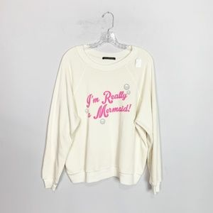 """Wildfox """"im really a mermaid"""" graphic pullover S L"""
